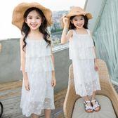 女童洋氣白色公主裙時尚吊帶連身裙中大童夏度假海邊沙灘過膝長裙   初見居家