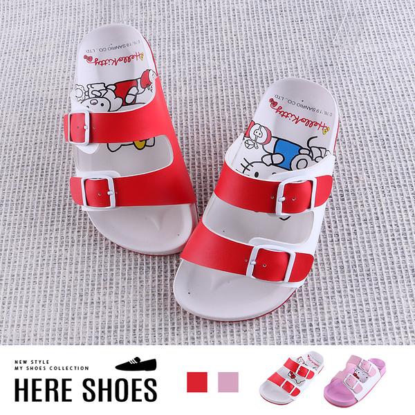 [Here Shoes]童鞋-MIT台灣製 HELLO KITTY 凱蒂貓印花鞋底 雙釦環涼拖鞋-KB99183
