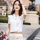 簡約V領金屬裝飾OL春夏短袖襯衫上衣[8X200-PF]美之札