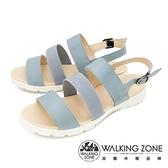 【南紡購物中心】WALKING ZONE (女) 真皮三帶厚底氣墊涼鞋 - 藍(另有紅)