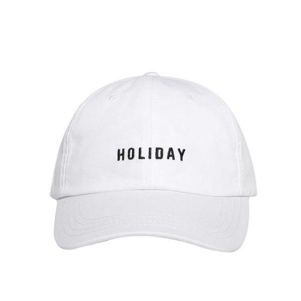 夏季全館免運藏藍色撞色HOLIDAY刺繡鴨舌帽彎檐棒球帽男女潮遮陽帽滿699元88折鉅惠