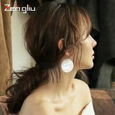 銀針貝殼耳環女圓形長款耳墜夸張韓國氣質吊墜個性耳飾潮耳圈【販衣小築】