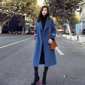 毛呢外套中長修身韓版韓版新款秋冬流行過膝呢大衣