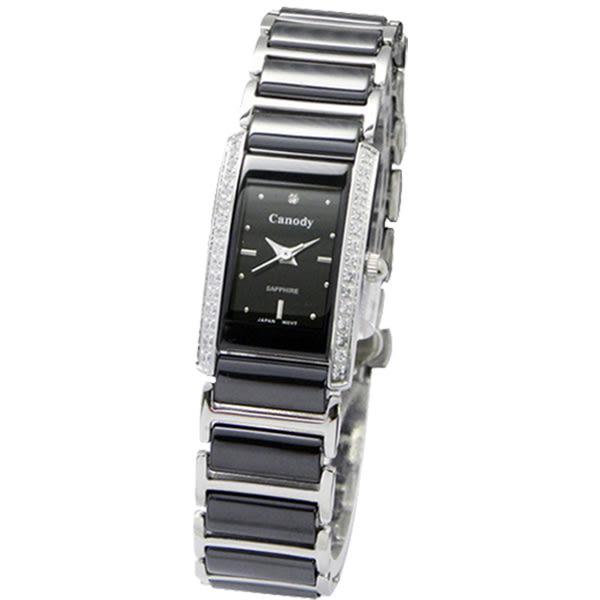 【僾瑪精品】Canody 知性典雅晶鑽陶瓷腕錶(黑/24mm/CM8808D-A)