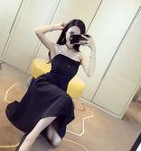 限時38折 韓國風名媛氣質字母雙吊帶收腰無袖洋裝