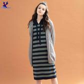 【秋冬降價款】American Bluedeer - 條紋連帽針織洋裝(魅力價)  秋冬新款