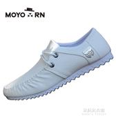 春季新款男士豆豆鞋白色男鞋子韓版潮流透氣休閒皮鞋社會小伙夏季 朵拉朵衣櫥