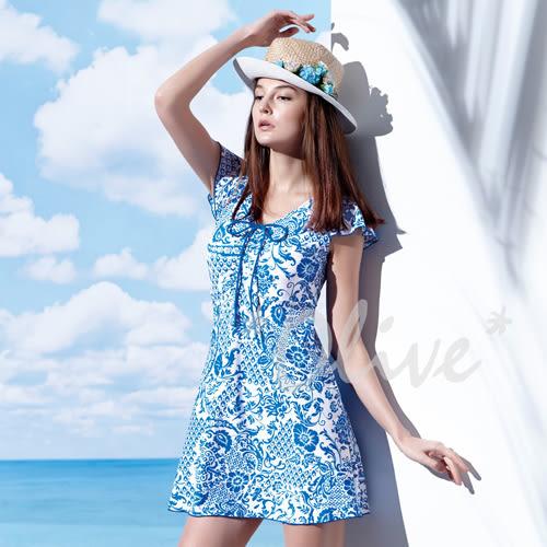 ☆小薇的店☆MIT聖手品牌【亮眼民俗風】時尚連身裙泳裝特價1740元 NO.A98626(M-4L)