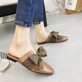 平底半拖鞋女外穿韓版蝴蝶結包頭拖鞋2018春夏新款時尚穆勒鞋女鞋