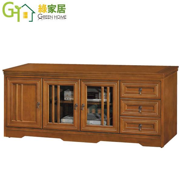 【綠家居】米斯 樟木色5尺實木三抽電視櫃/收納櫃