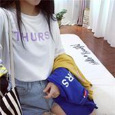 白色短袖T恤女新款夏韓版寬鬆學生百搭長袖秋上衣韓范半袖體