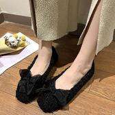 毛毛鞋女外穿2019秋季新款蝴蝶結加絨豆豆毛絨淺口平底單鞋冬