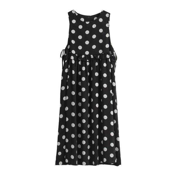 Queen Shop【01085484】滿版圓點無袖側綁帶設計洋裝 兩色售*現+預*
