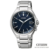 CITIZEN星辰 光動能電波錶 鈦金屬手錶 CB1120-50L 藍/38mm