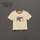 Queen Shop【01037664】童裝 親子系列 恐龍撞色領棉T S/M/L*現+預*