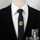 領帶男士個性刺繡黑色領帶韓版5cm窄版學生懶人免打結拉鍊易拉得領帶 新品