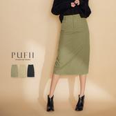 現貨◆PUFII-中長裙 單釦鬆緊後開衩中長裙-0926  秋【CP17307】