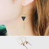 耳飾 耳環 幾何 三角形 吊墜 線條 金屬感 氣質 耳釘 公主街