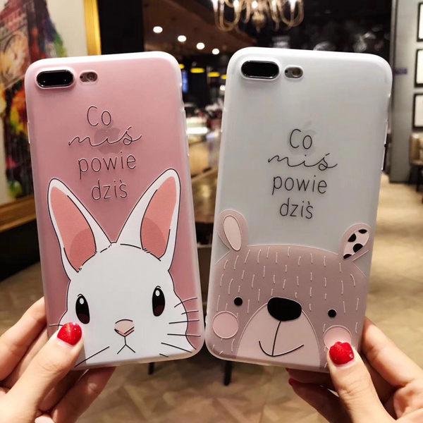 【SZ13】YY iphone 8 plus手機殼 趣味小熊 小兔 磨砂半透軟殼 iphone 6s 手機殼 iPhone7plus手機殼