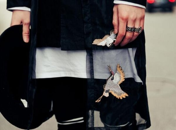 找到自己品牌 男 時尚 街頭 潮 中國風 立領 網紗 鶴 刺繡 假兩件 長袖襯衫 特色襯衫