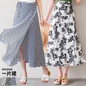 MIUSTAR 花花/直條一片式側綁帶中長裙(共3色)【NF3176GW】預購