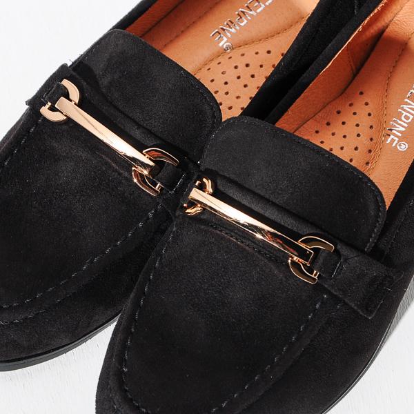 新品上市 GREEN PINE 英倫雅痞金屬扣樂福鞋-黑色