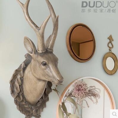 仿真鹿頭牆壁掛飾挂件壁飾傢居裝飾品復古美式北歐式酒吧創意牆飾