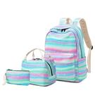 尼龍後背包(三件套)-彩虹條紋大容量休閒女手提包2色73ya8【巴黎精品】