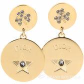 DIOR Double Amulet 水晶幸運星穿針式耳環(金色) 1930153-24