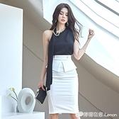 職業套裝女夏季新款ol氣質御姐風性感掛脖修身包臀開叉洋裝