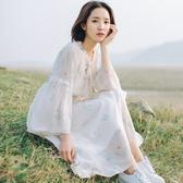 大尺碼 休閒裙 洋裝 大尺碼女2019夏裝新款很仙的胖mm洋氣遮肚雪紡連衣裙減齡顯瘦200斤