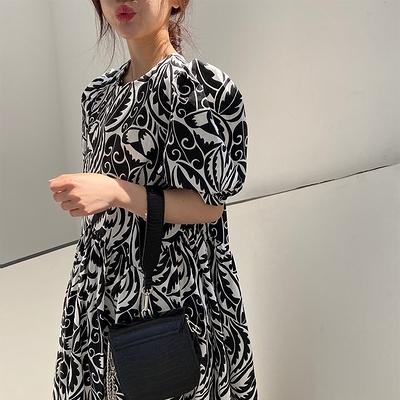 日系洋裝~長版長裙~韓版顯瘦泡泡袖復古后鏤空黑白印花大版連身裙#6047N515愛尚布衣