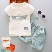 套裝 鱷魚先生 休閒 棉T 短T 短袖上衣+褲子 二色 寶貝童衣