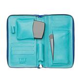 【LILI RADU】德國新銳時尚設計品牌 手工雙色小牛皮時尚手拿多功能化妝包 手機包 錢包(彩豔藍)