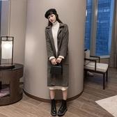 VK精品服飾 韓系羊毛呢格紋千鳥格大衣外套單品長袖上衣