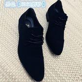 現貨 男士皮鞋男潮鞋英倫商務休閒鞋正裝男鞋黑色韓版尖頭個性布面透氣 10-22