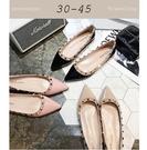 大尺碼女鞋小尺碼女鞋尖頭鉚釘漆皮娃娃鞋平...