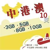 《中港澳網卡》10天中國、香港、澳門通用網卡/中港澳卡/中國網卡/澳門網卡/香港上網/大陸上網