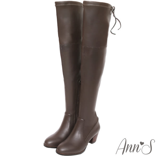 Ann'S俐落線條-羊紋後蝴蝶結貼腿彈力側拉鍊過膝長靴-咖啡