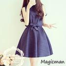洋裝 小清新無袖娃娃領連身裙(X2266...