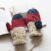 毛線手套女冬可愛韓版學生季加厚保暖加絨掛脖針織手套 莫妮卡小屋