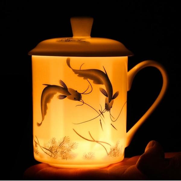 景德鎮茶杯 陶瓷家用帶蓋骨瓷大水杯辦公室杯子青花瓷杯定制刻字 一木良品