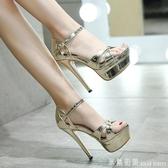 12CM高跟細跟魚嘴涼鞋夜店防水臺漆皮一字帶性感銀色超高跟女鞋夏