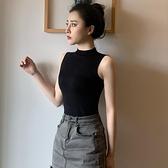 黑色背心女內搭打底衫吊帶設計感小眾外穿夏半高領無袖緊身上衣潮 錢夫人