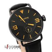 力抗LICORNE原廠公司貨 極簡刻度獨立秒針手錶 弧形鏡面真皮錶帶 柒彩年代【NE835】原廠公司貨