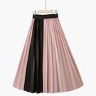 2021春季新韓版松緊高腰純色撞色拼接中長復古顯瘦百搭壓褶半身裙 小艾新品