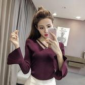 2018秋新款淑女氣質喇叭袖打底針織衫修身顯瘦V領長袖套頭毛衣女