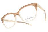 EMPORIO ARMANI 光學眼鏡 EA3136F 5699 (棕-象牙) 拼色時尚貓眼款 平光鏡框 #金橘眼鏡
