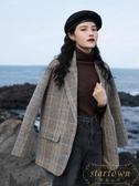 韓版百搭大衣外套女格子西裝外套秋冬冬季加厚短款【繁星小鎮】