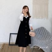 中大尺碼  雪紡拼接桃心領假兩件洋裝- 適XL~4L《 69089 》CC-GIRL